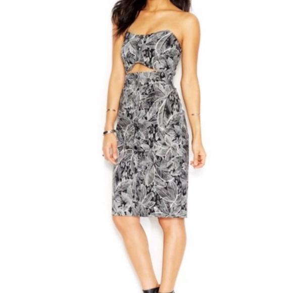 Rachel Roy Strapless Tropical Print Cutout Dress